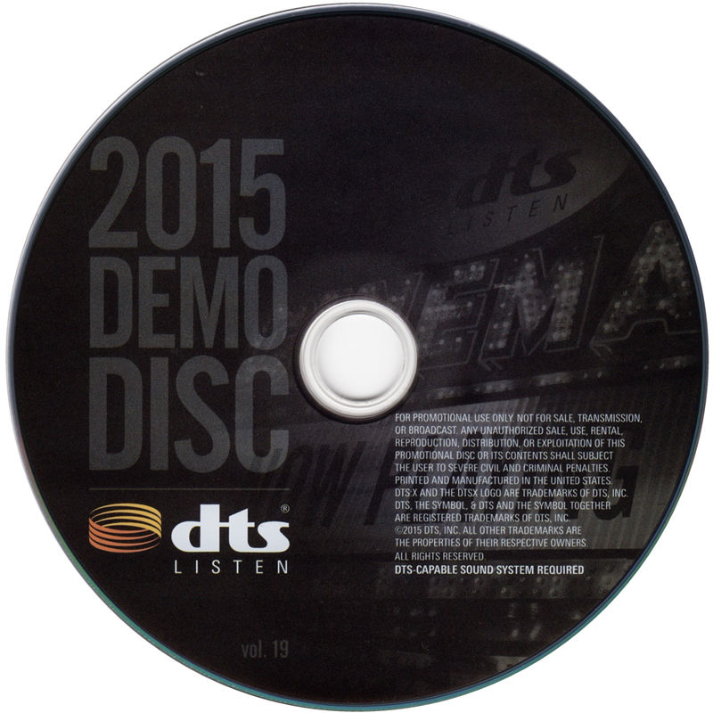 2015 DTS蓝光演示碟 Vol.19(DTS:X) 2015 DTS Blu-Ray Demo Disc Vol.19 盘面