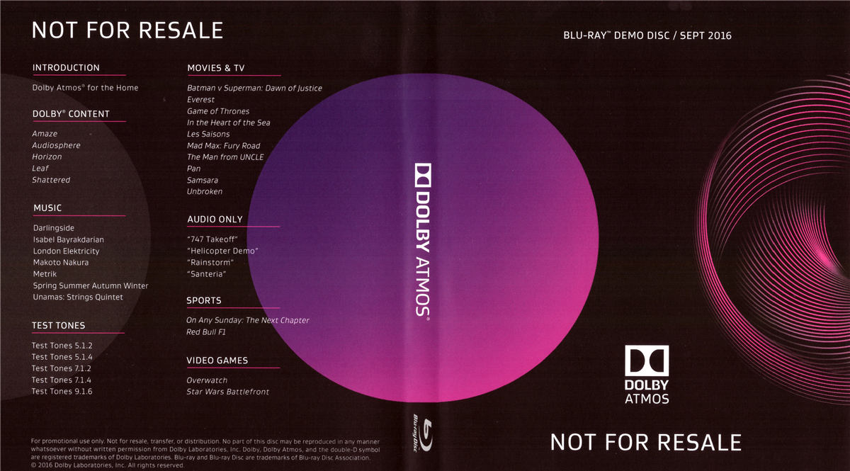 杜比全景声演示碟 第四版(2016/9) Dolby Atmos Blu-Ray Demo Disc (Sep 2016)